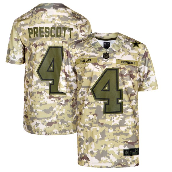 Youth Dallas Cowboys Dak Prescott Nike Camo Salute to Service Game Jersey