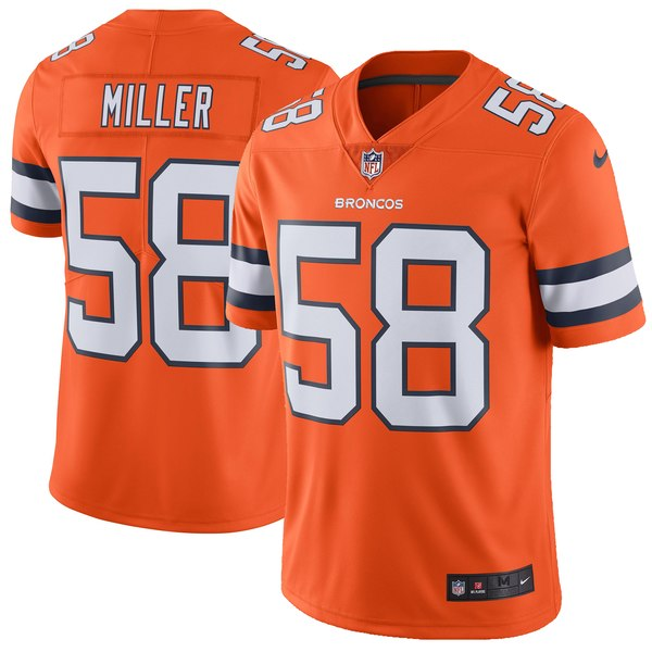 Men's Denver Broncos Von Miller Nike Orange Vapor Untouchable Color Rush Limited Player Jersey