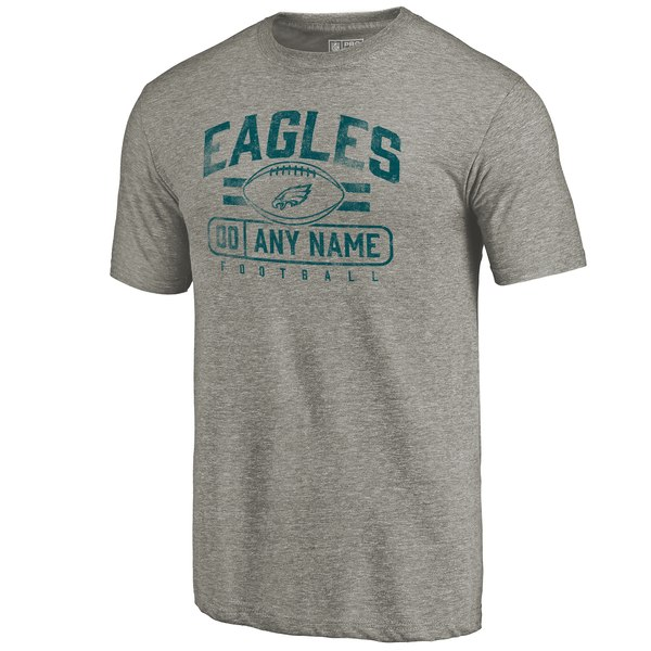 Men's Philadelphia Eagles NFL Pro Line by Fanatics Branded Gray Personalized Flanker Tri-Blend T-Shirt